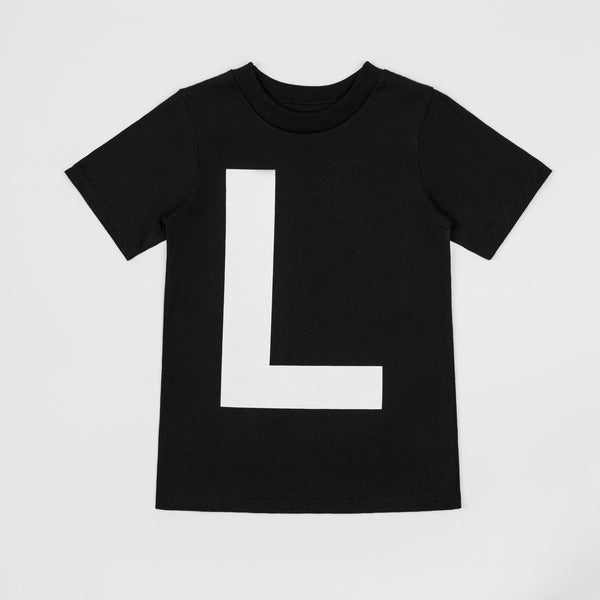 L - black t-shirt with white print