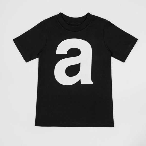 A - black t-shirt with white print