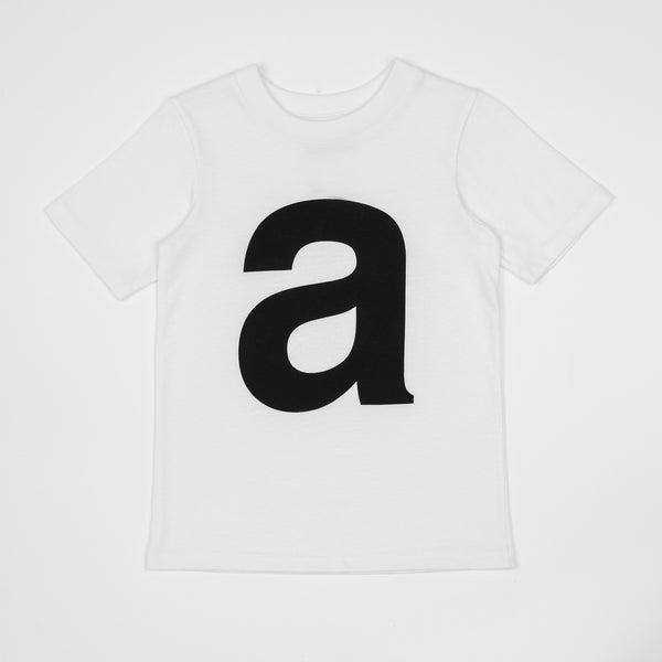 A - white t-shirt with black print