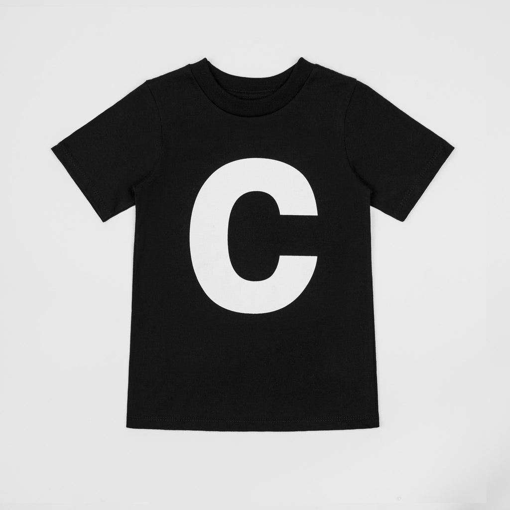 C - black t-shirt with white print