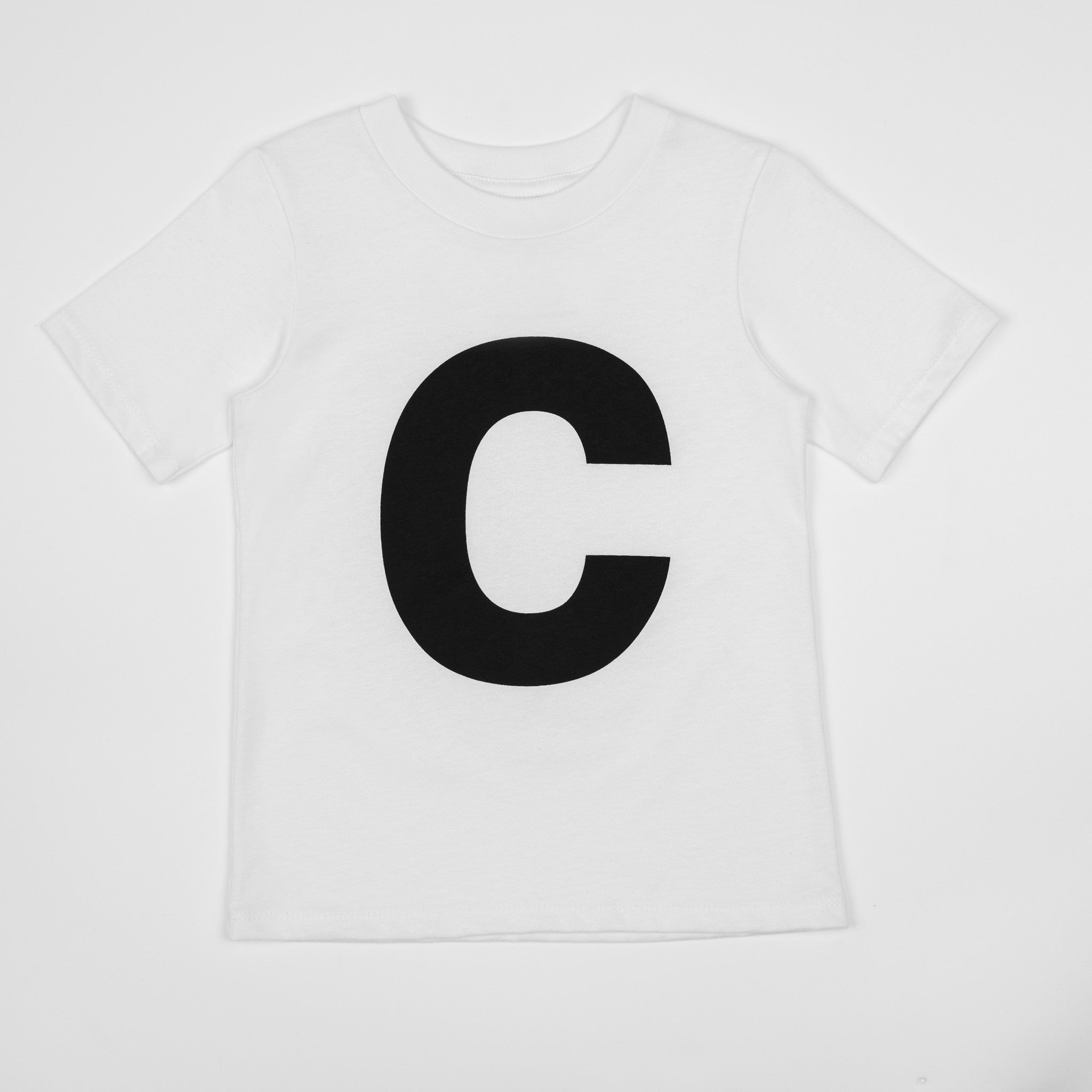 Letter C White T Shirt With Black Print Numbers And Letters