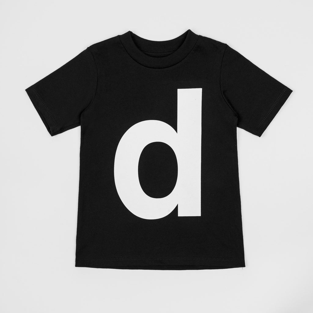 D - black t-shirt with white print