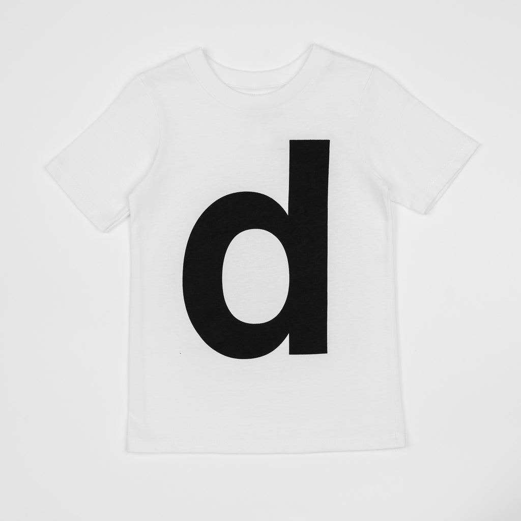 D - white t-shirt with black print