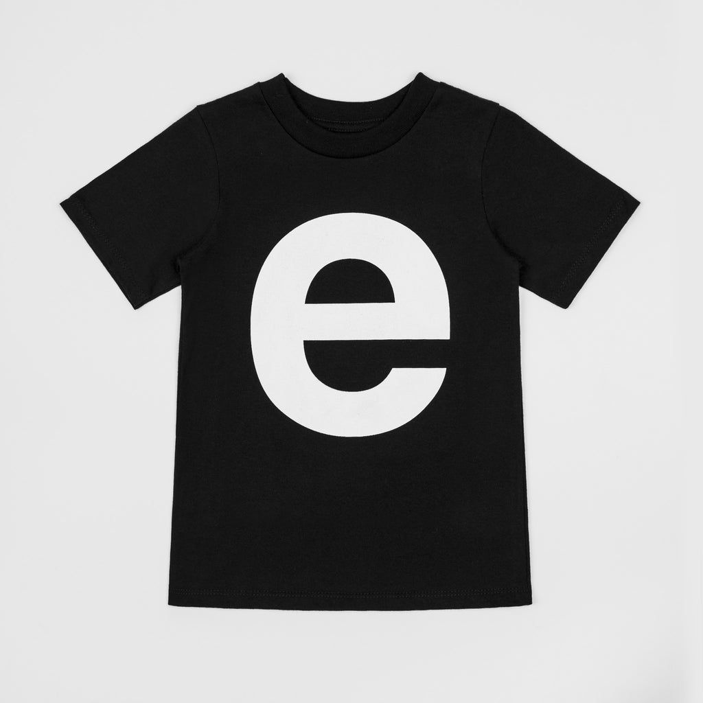 E - black t-shirt with white print