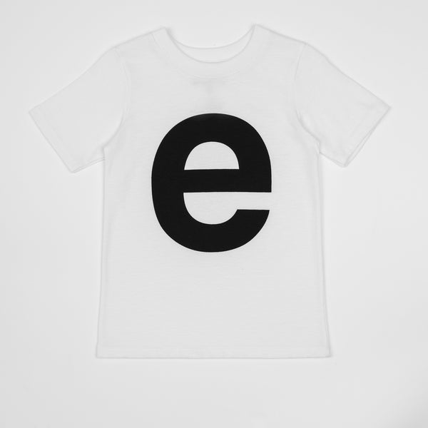 E - white t-shirt with black print