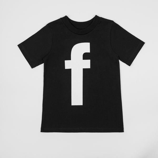 F - black t-shirt with white print