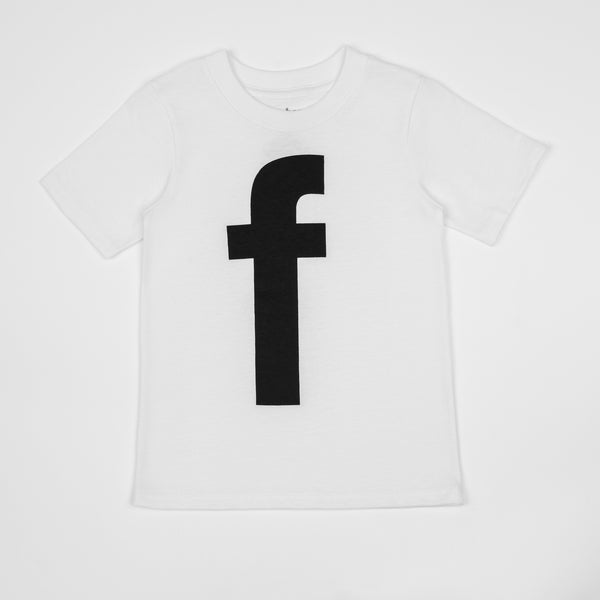 F - white t-shirt with black print