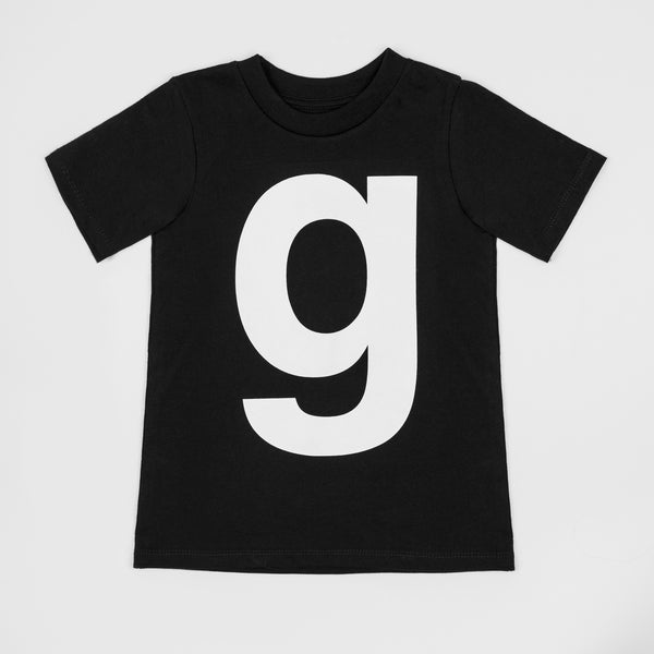 G - black t-shirt with white print