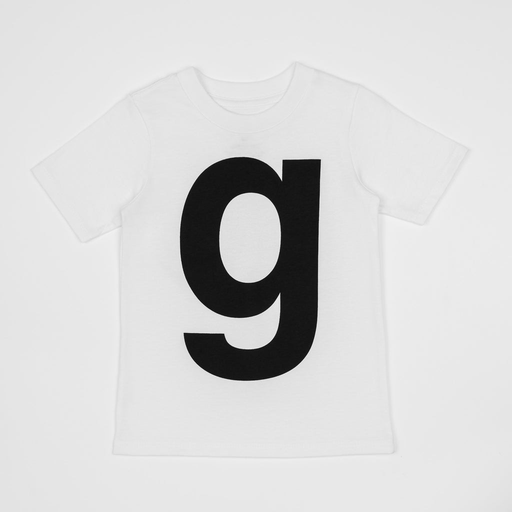 G - white t-shirt with black print