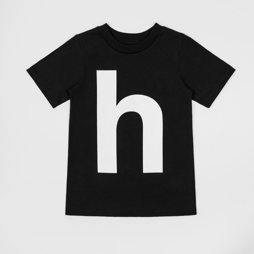 H - black t-shirt with white print