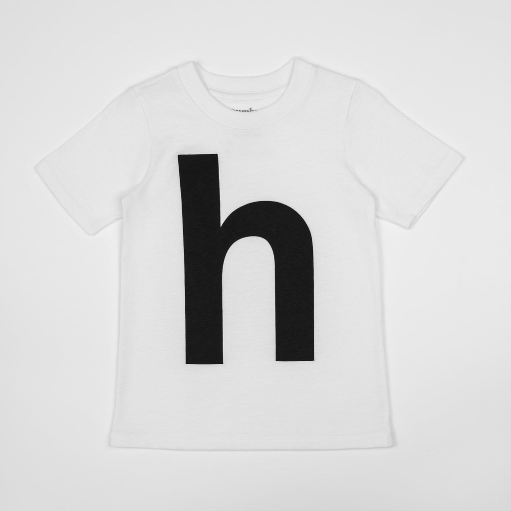 H - white t-shirt with black print