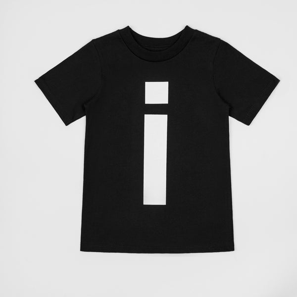 I - black t-shirt with white print