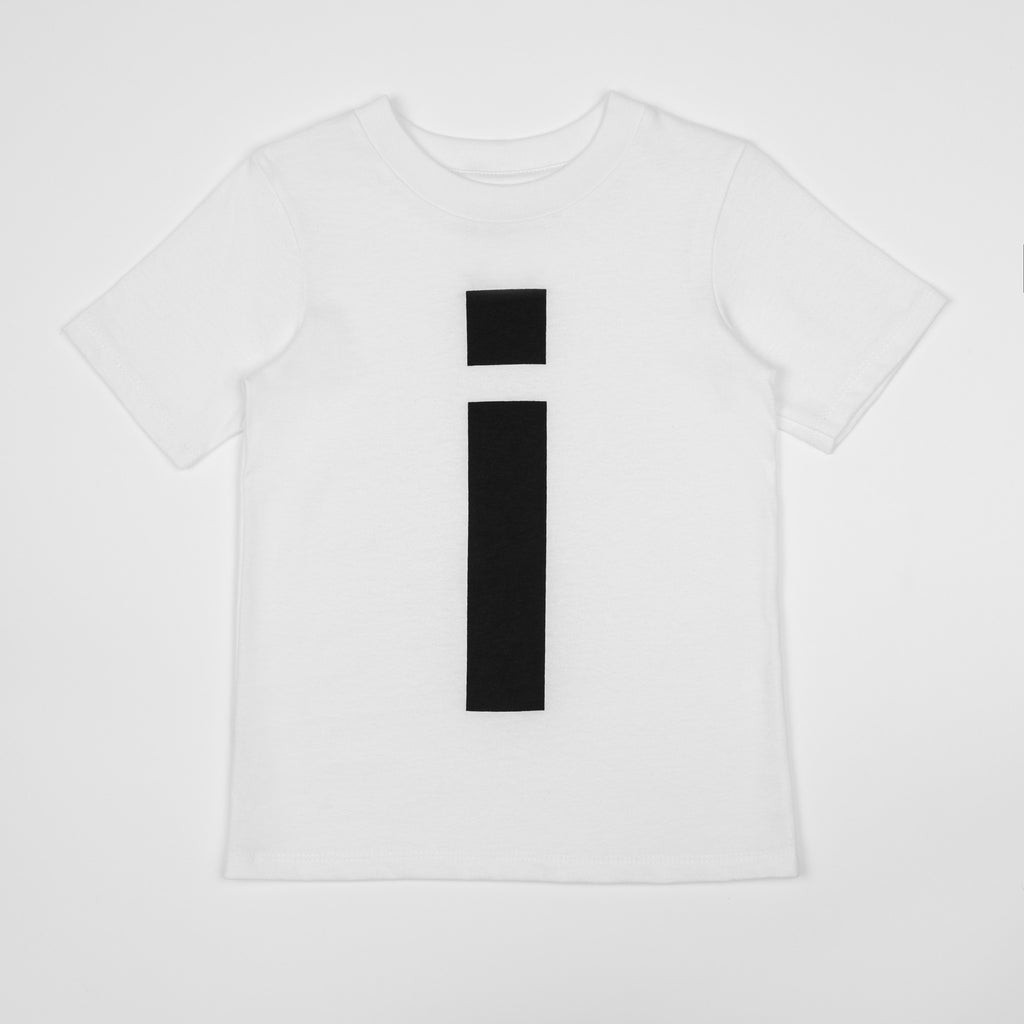 I - white t-shirt with black print
