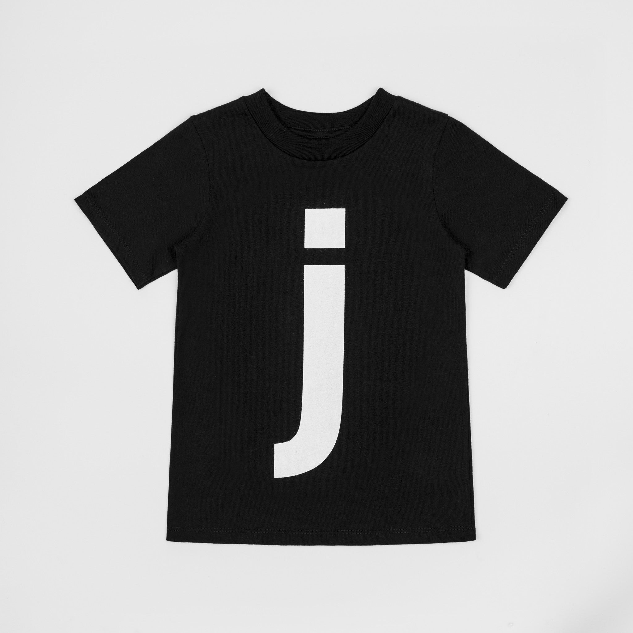 Letter J Black T Shirt With White Print Numbers And Letters