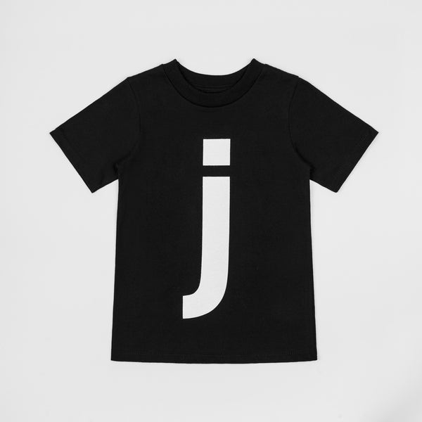 J - black t-shirt with white print