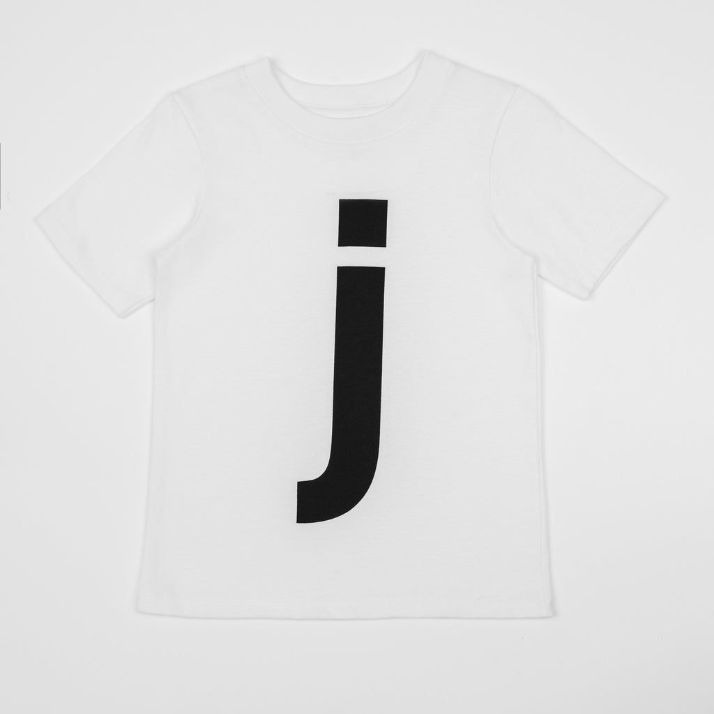 J - white t-shirt with black print
