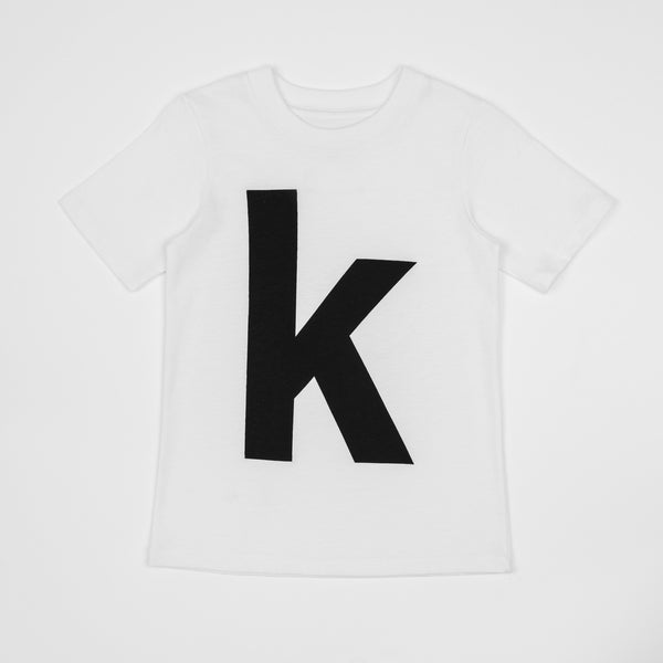 K - white t-shirt with black print