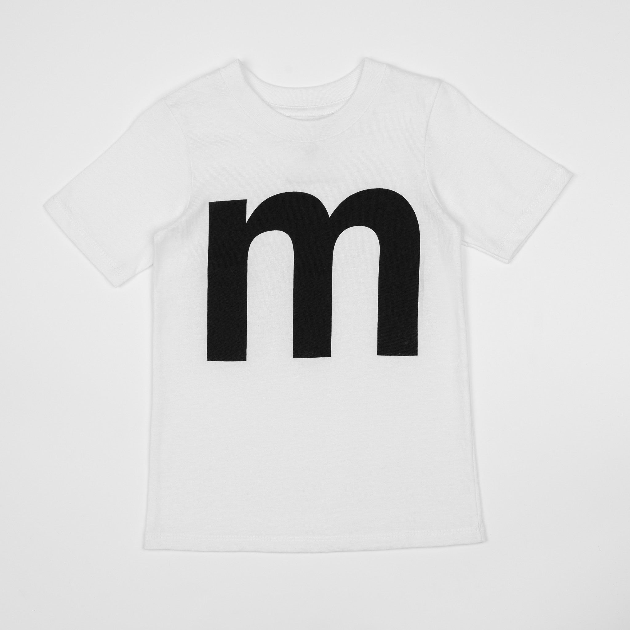 Letter M White T Shirt With Black Print Numbers And Letters