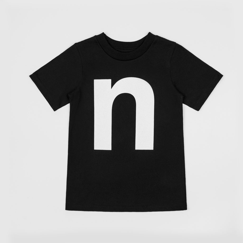 N - black t-shirt with white print