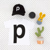 Letter P printed black on white t-shirt