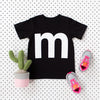 Letter M printed white on black t-shirt