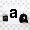 Letter A printed black on white t-shirt