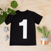 Number 1 printed white on black t-shirt