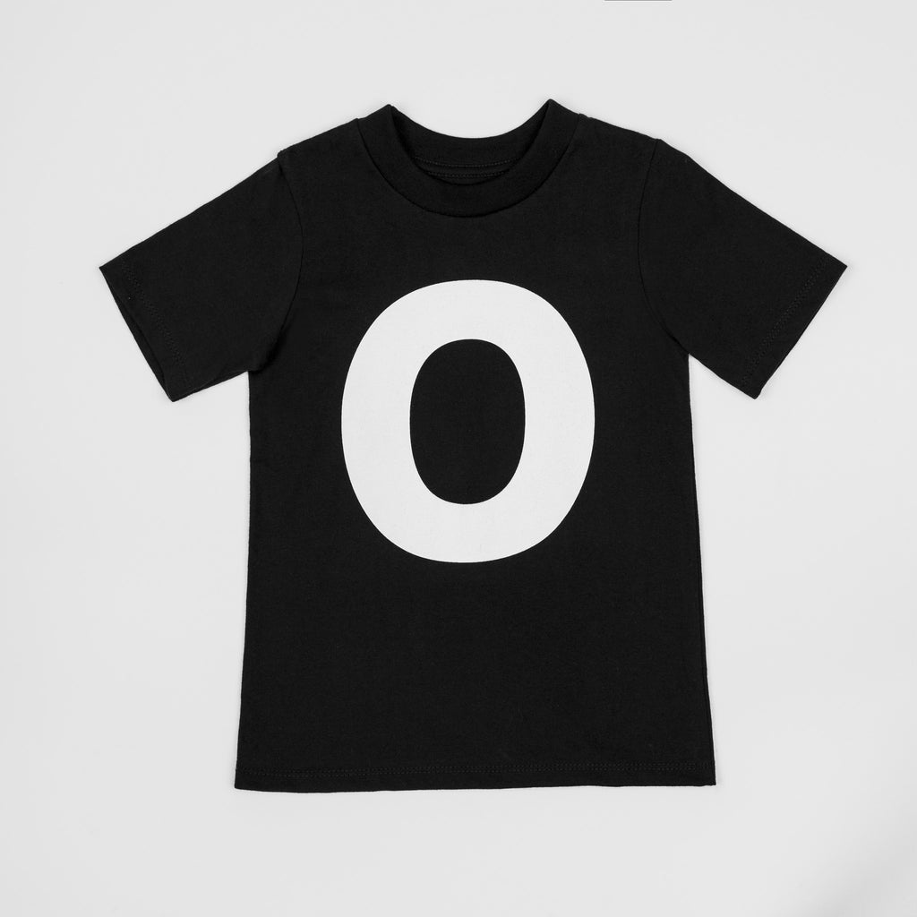 O - black t-shirt with white print