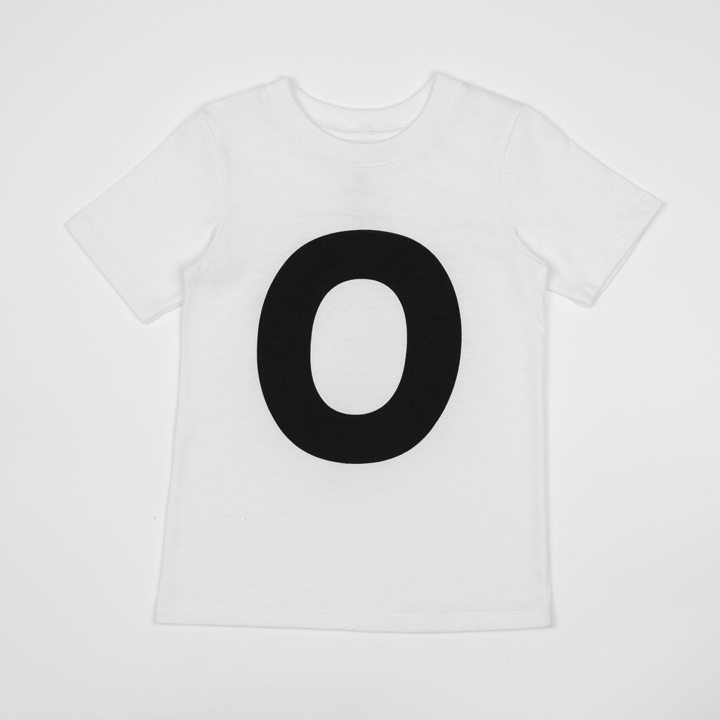 O - white t-shirt with black print