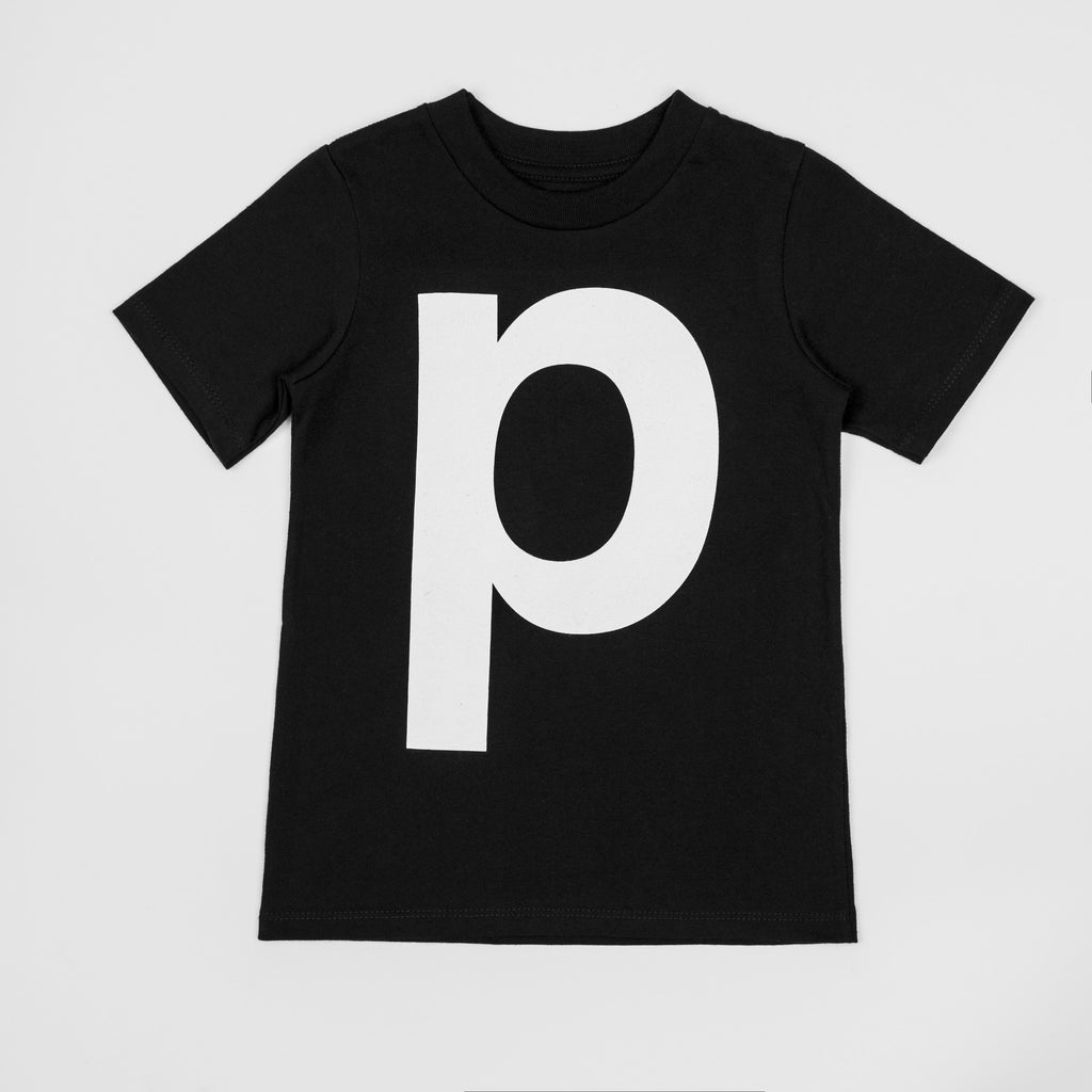 P - black t-shirt with white print