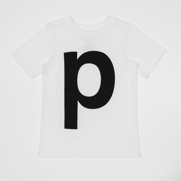 P - white t-shirt with black print