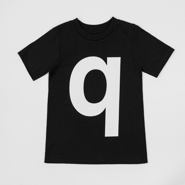 Q - black t-shirt with white print