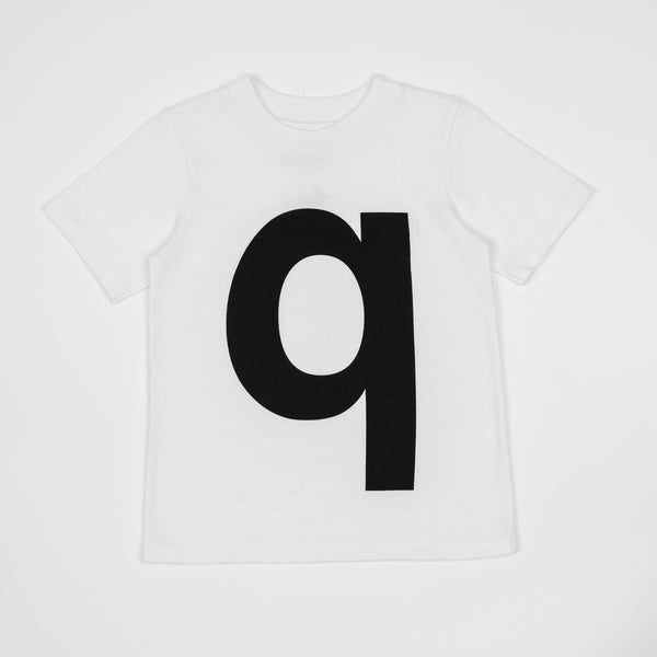 Q - white t-shirt with black print