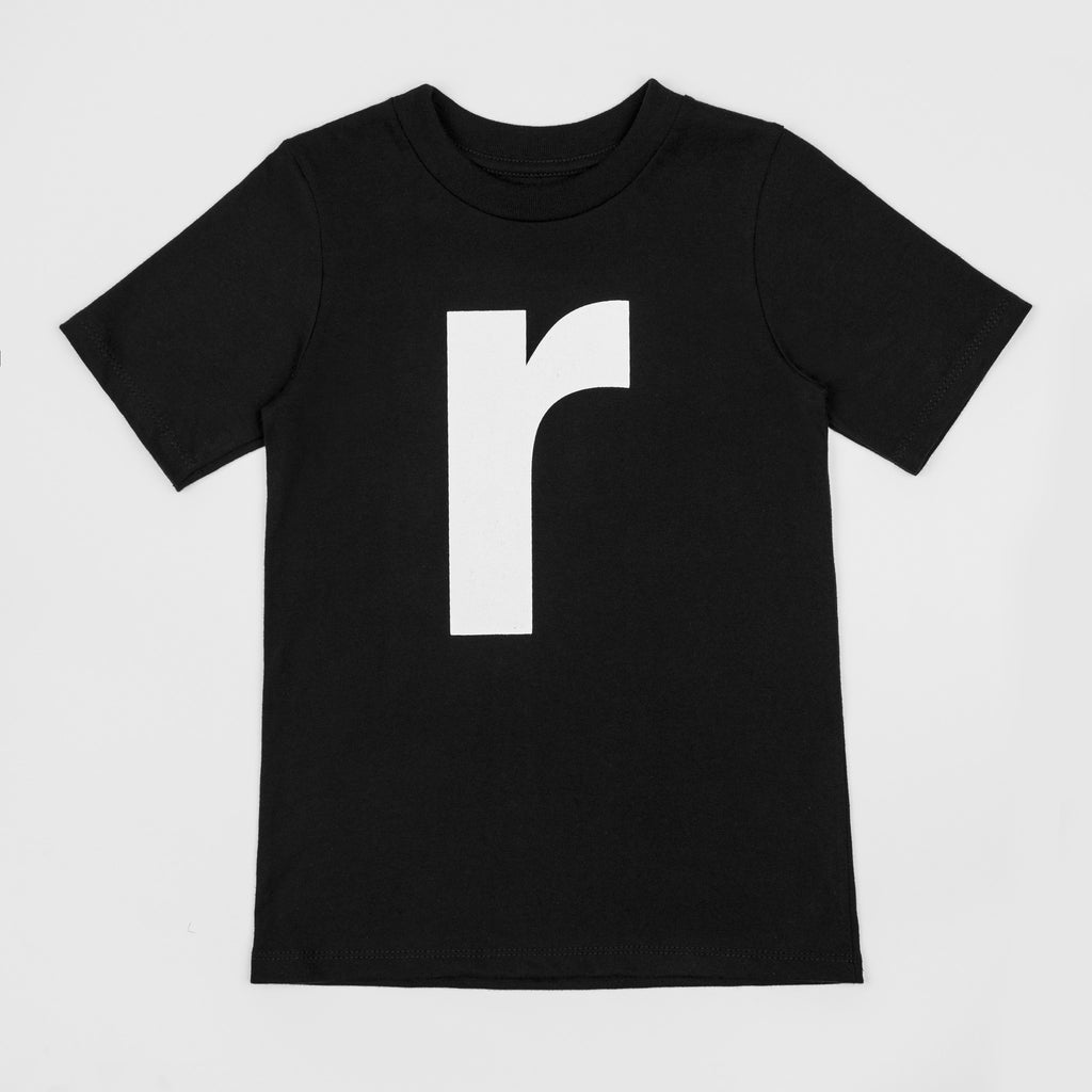 R - black t-shirt with white print