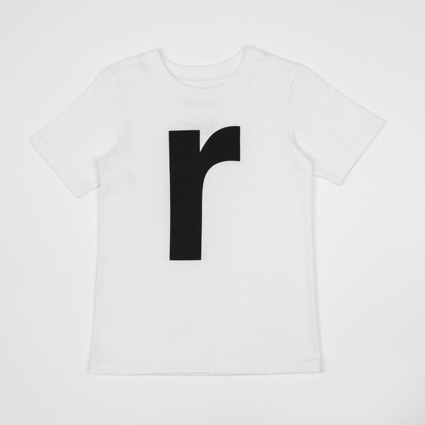 R - white t-shirt with black print
