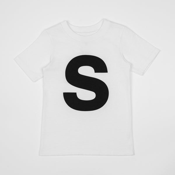 S - white t-shirt with black print