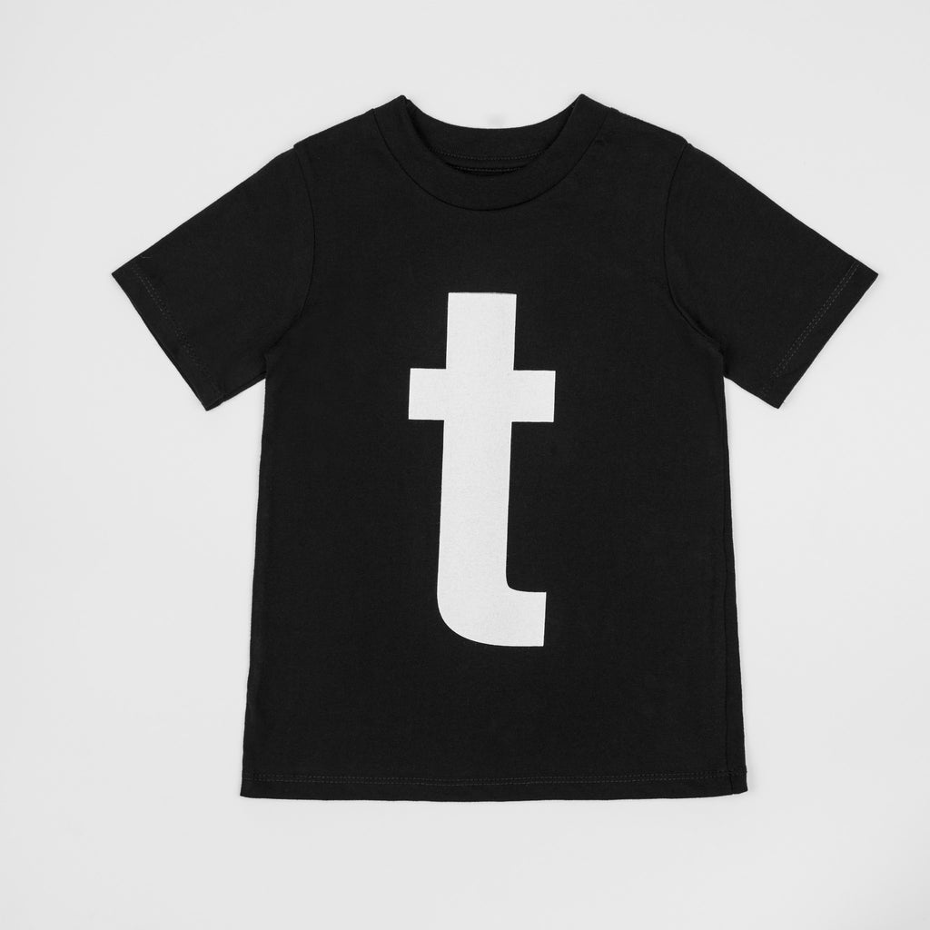 T - black t-shirt with white print
