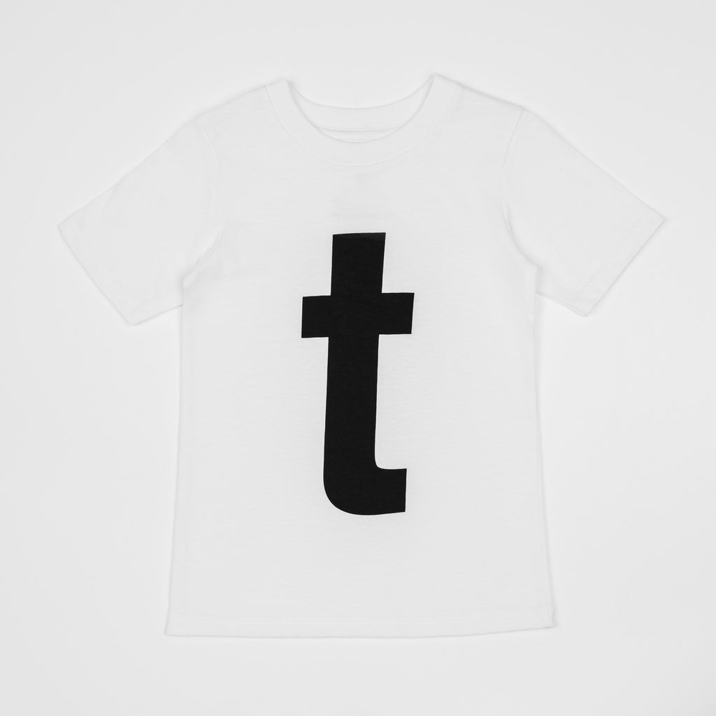 T - white t-shirt with black print