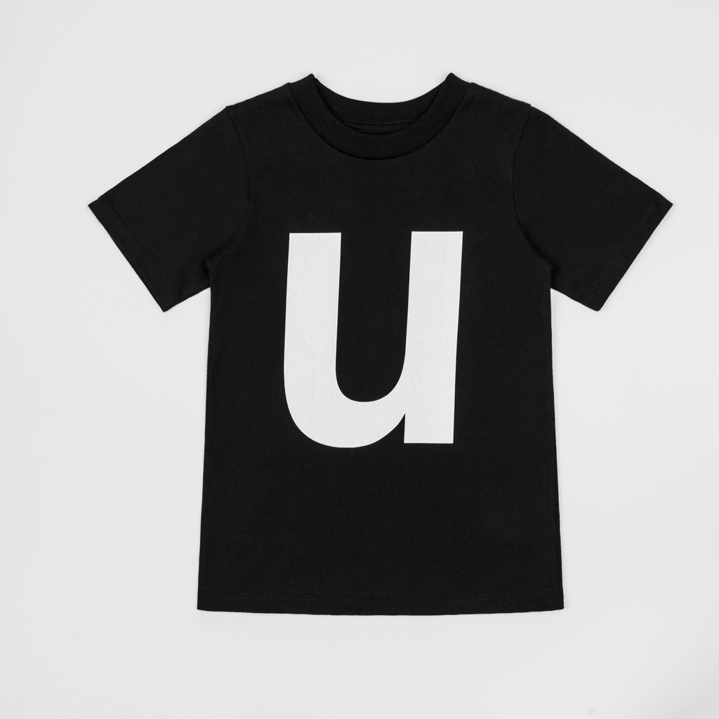 U - black t-shirt with white print