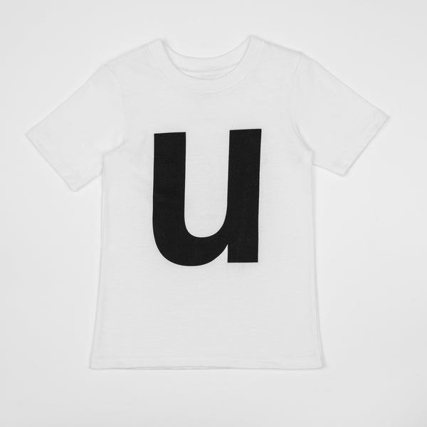 U - white t-shirt with black print