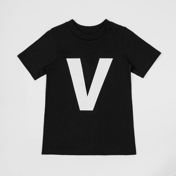 V - black t-shirt with white print