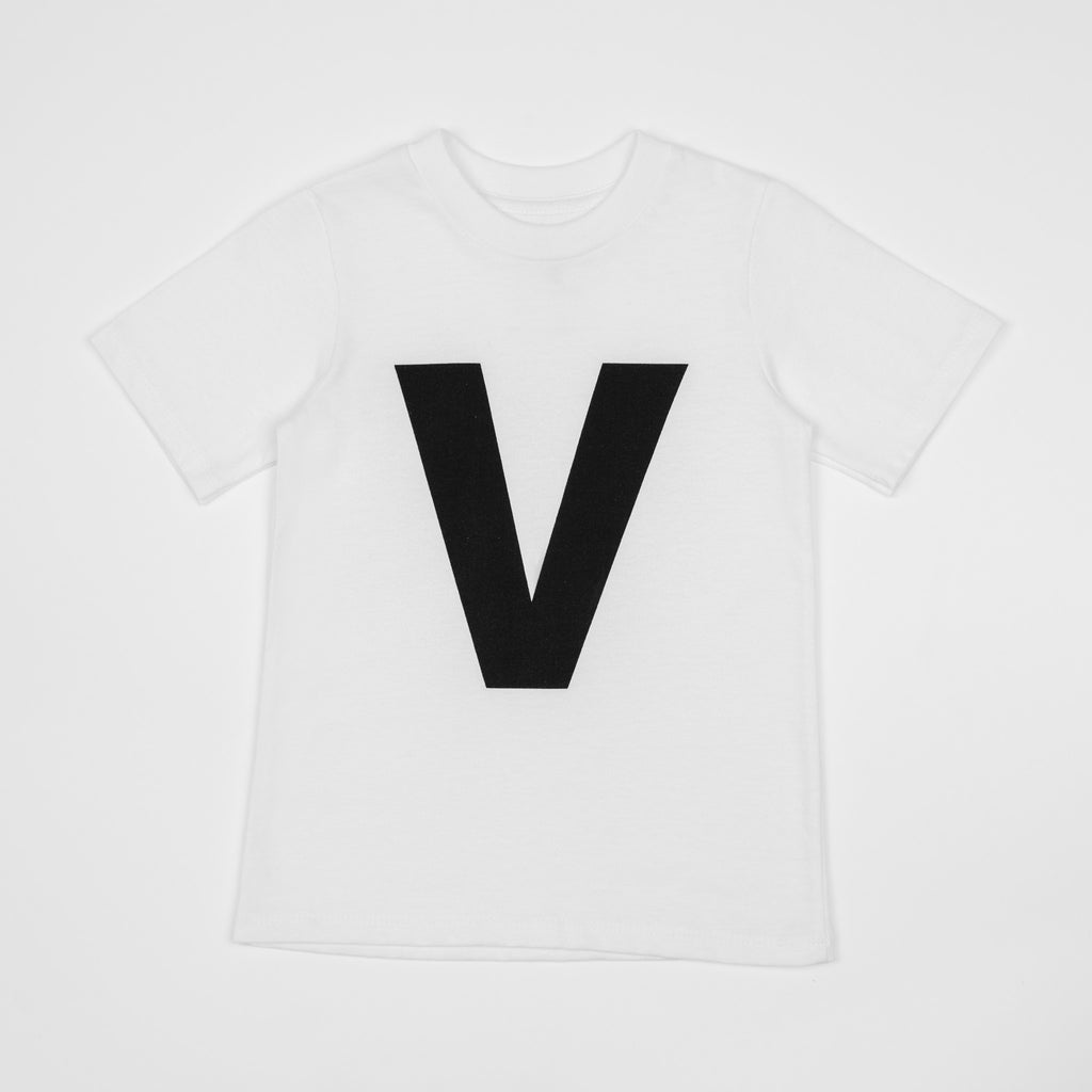 V - white t-shirt with black print