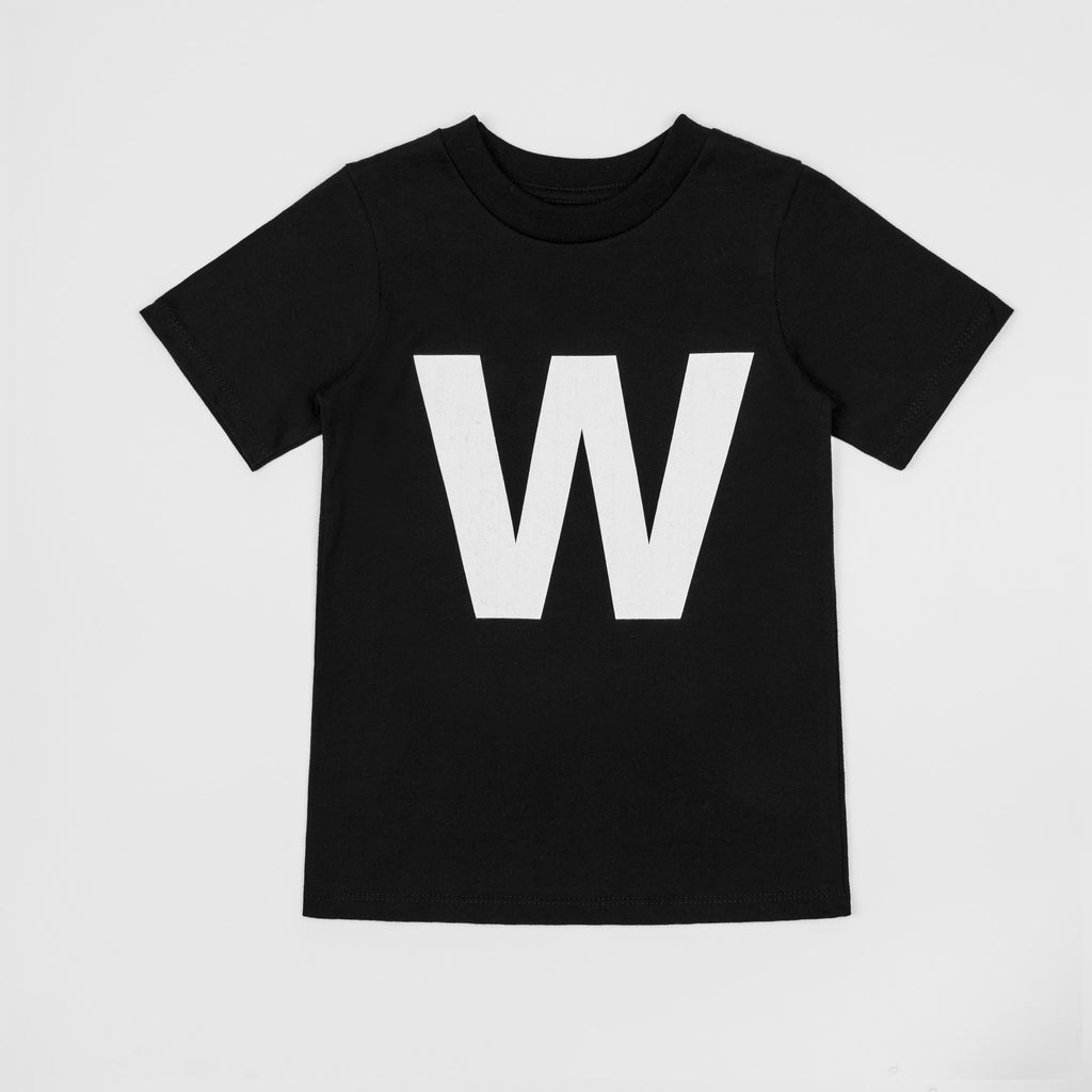 W - black t-shirt with white print