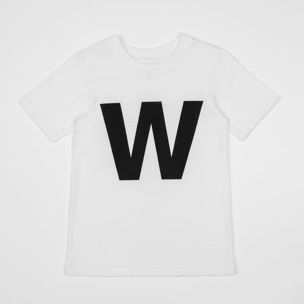 W - white t-shirt with black print