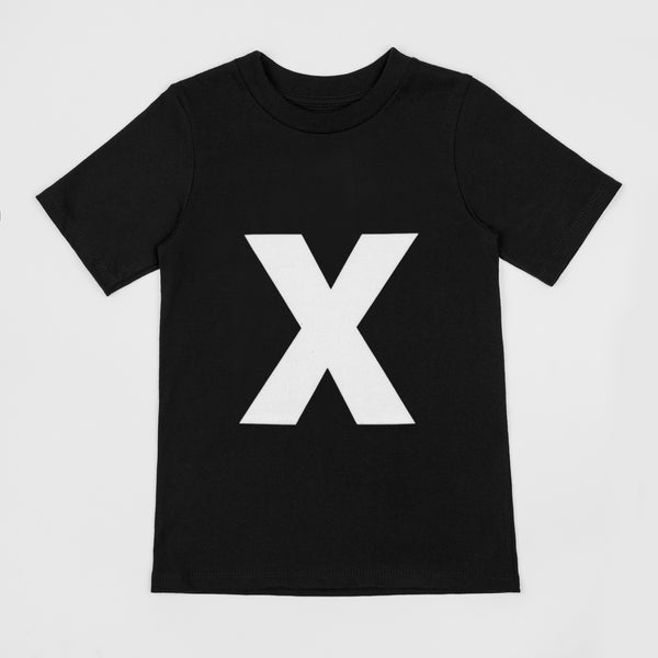 Letter X printed white on black t-shirt
