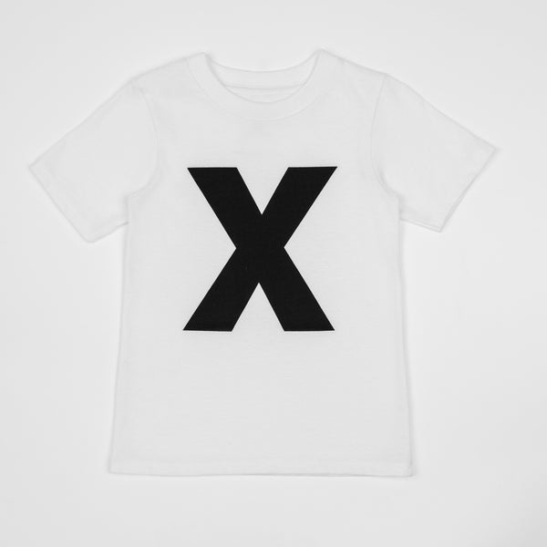 X - white t-shirt with black print