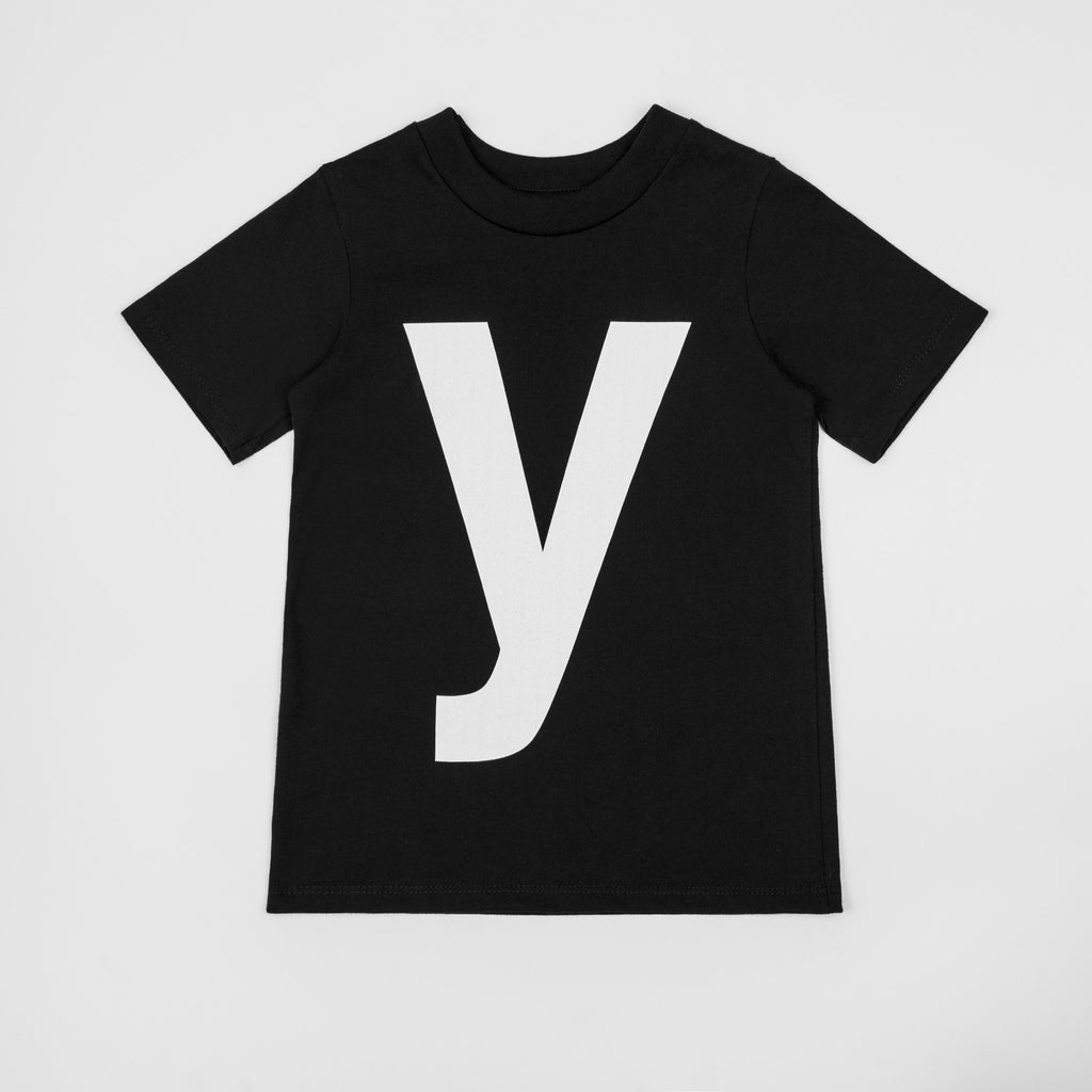 Y - black t-shirt with white print