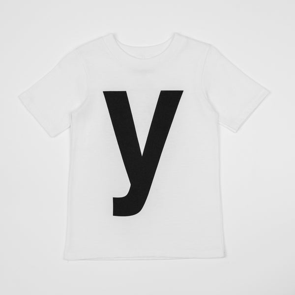 Y - white t-shirt with black print