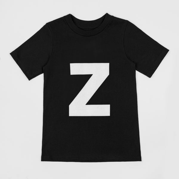 Letter Z printed white on black t-shirt