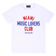 Boy's Diesel White Top With Miami Music Lovers Club Text